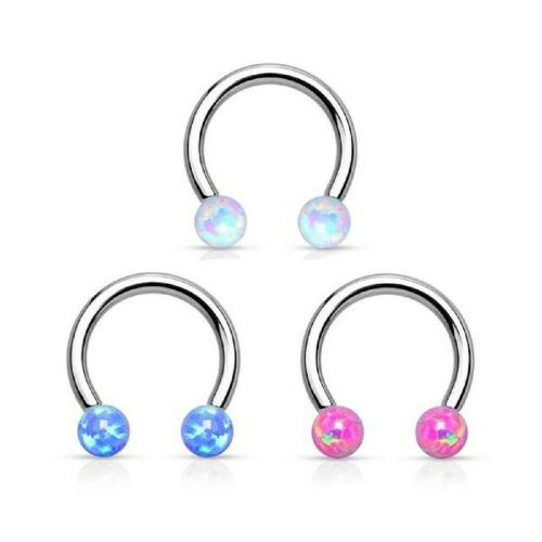 Internally Thread Opal Ball Horseshoe Barbell